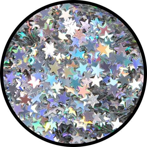 """2 g Holographischer Streu Glitzer """"Silber Sterne"""""""
