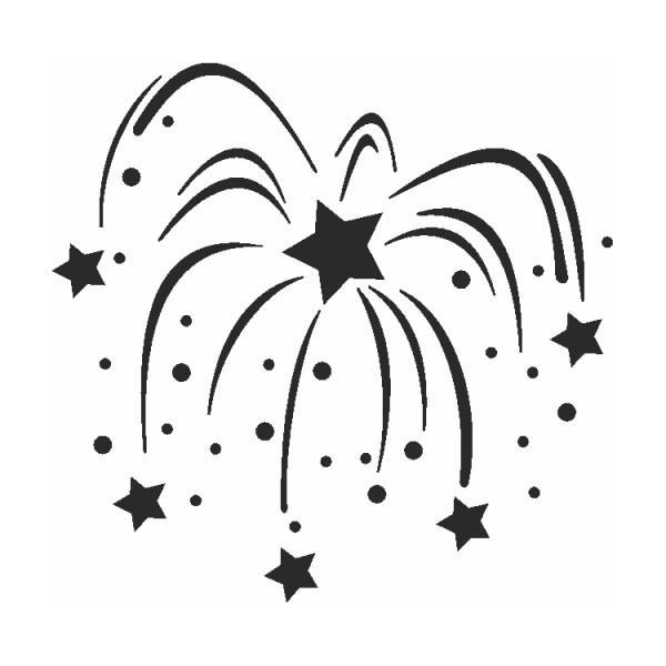 Selbstklebe Schablone Feuerwerk Eulenspiegel