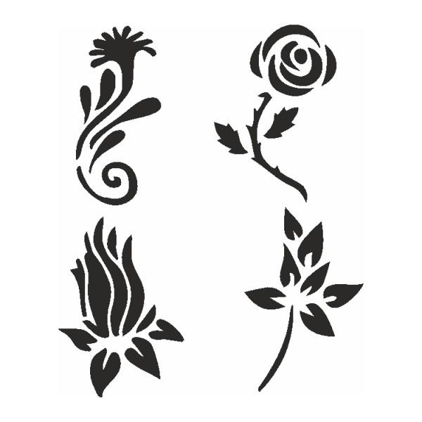 Selbstklebe Schablonen Set Flowers Eulenspiegel