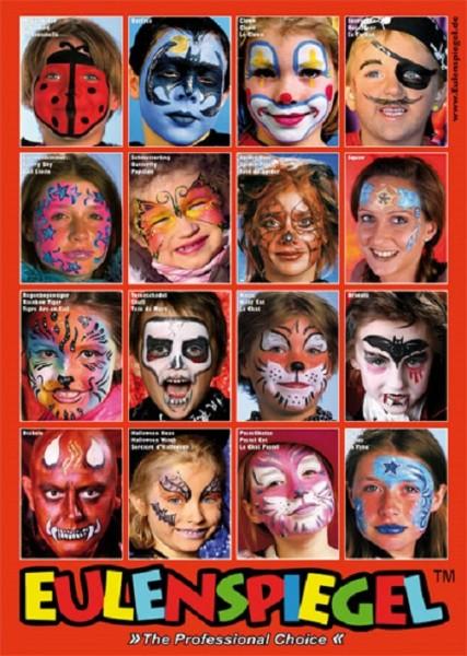 Eulenspiegel Poster mit 16 Masken