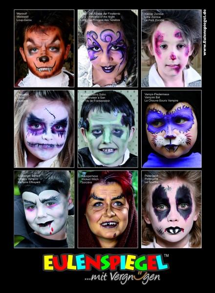 Eulenspiegel Poster mit 9 Grusel Masken