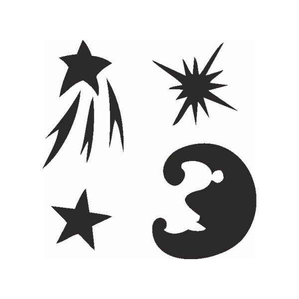 Selbstklebe Schablonen Set Stars Eulenspiegel